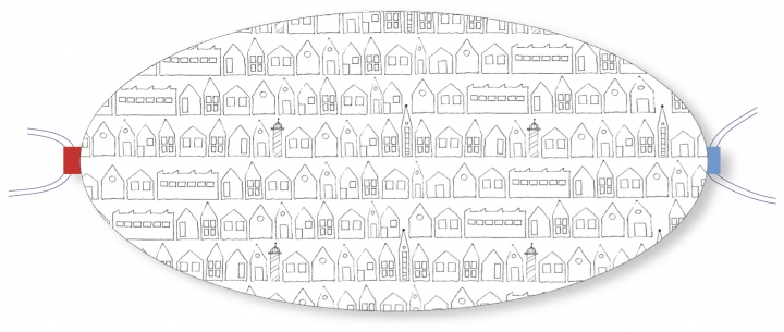 Ovaletti - Mund-Nasen-Maske / Häuser