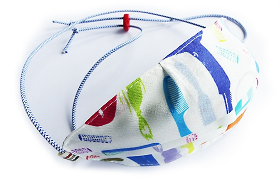 Ovaletti - Mund-Nasen-Maske / bunter Friseursalon