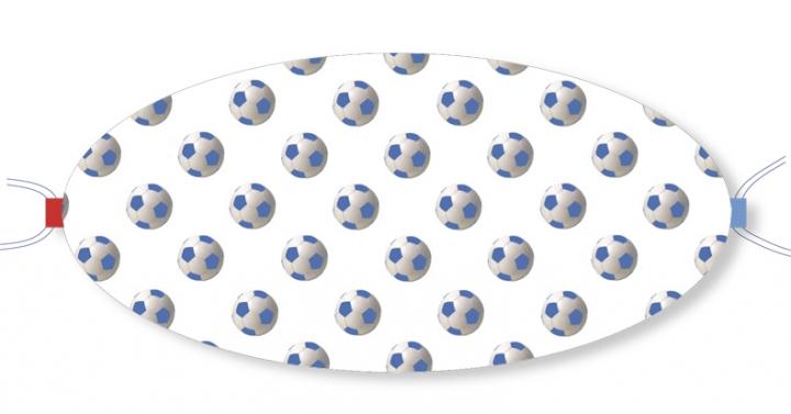 Ovaletti - Mund-Nasen-Maske / blaue Fussbälle