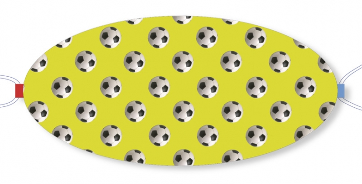 Ovaletti - Mouth-Nose Protection / Footbaals in Front of Yellow-Green