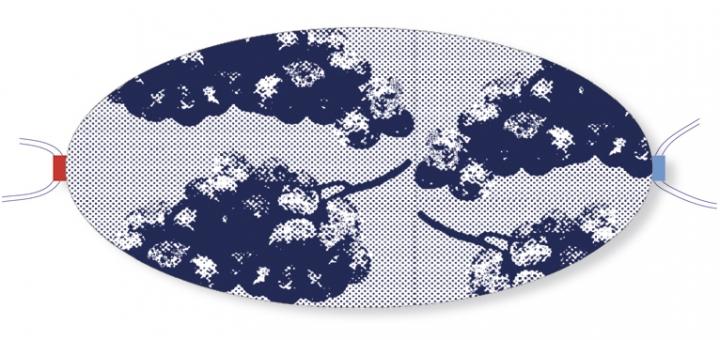 Ovaletti - Mund-Nasen-Maske / blaue Trauben